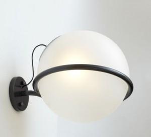 LAMPĂ DE PERETE REVOLVE-1 NEGRU - GLOB STICLĂ ALBĂ