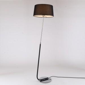 LAMPĂ DE PODEA CRIUS CROMAT - ABAJUR NEGRU
